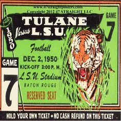 LSU Tigers football tickets, LSU Tigers Drink Coasters. 1950 Tulane vs. LSU Football Ticket Coasters.™ Football drink coasters. Last minute gifts. Sports coasters made from over 2,000 historic college football tickets. Last minute gift ideas for sports fans. Printed in the U.S.A. and shipped within 24 hours. #fathersdaygifts #giftideas #football #collegefootball