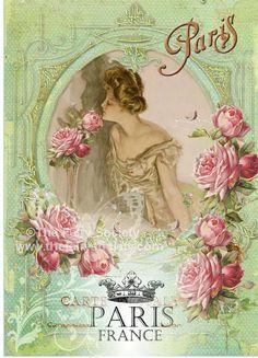 Fabric Block Vintage Marie Paris Green Roses 5 x 7 by sherrifairy