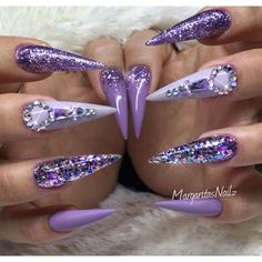 Purple Bling Stilettos by MargaritasNailz nail art design