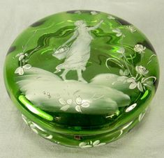 Mary Gregory Style Bohemian Glass Dresser Box