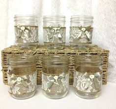 6 mason jar candle holder  lace and burlap covered
