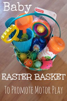 A baby Easter basket designed to promote motor skills. Sadly it doesn't include Peeps.