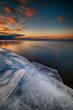 ~~Dawn and ice sheets ~ sunrise, Huron Pointe, Lake St. Clair, Michigan by Mark Graf Photography~~