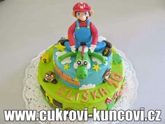super Mario Kuncovi, www. Super Mario, Birthday Cake, Desserts, Food, Tailgate Desserts, Deserts, Birthday Cakes, Essen, Postres