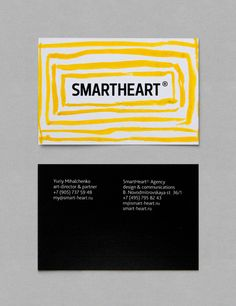 Logo and bright hand painted watercolour business card for design agency Smartheart.