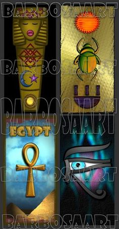 Egypt Art Images 1 x 2 Inch domino sized- Digital Collage Sheet