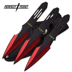 Perfect Point Typhoon Red Throwing Knife Set For Sale | All Ninja Gear: Largest Selection of Ninja Weapons | Throwing Stars | Nunchucks