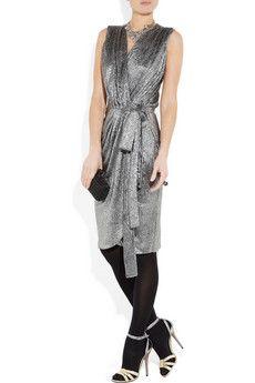 L'AGENCE  Metallic textured-twill dress