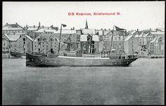 """D/S """"KVÆRNES"""" i havnebassenget Kristiansund i Møre og Romsdal fylke utg NLR, ener. Kapt. Hovde Kristiansund, Old Town, Sailing Ships, Norway, Pictures, Old City, Photos, Photo Illustration, Resim"""