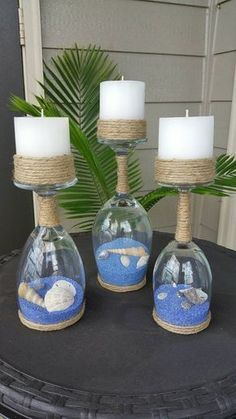Seashell and Sand Wine Glass Candle Holders (Set of Seashell and sand glass of wine candle holder Seashell Crafts, Beach Crafts, Diy And Crafts, Twine Crafts, Sand Crafts, Wine Glass Crafts, Wine Bottle Crafts, Wine Bottles, Glass Bottle