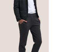 Anzughose aus Jersey mit Herringbone Muster im Herrenstil