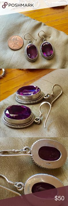 reserved Amethyst earrings 925 ✨✨ Bright purple beauties! Originally bought at Nordstrom's, I just don't wear them much anymore. Beautifully balanced and never out of style, this is a gorgeous pair of chunkiness! ❤️ Jewelry Earrings