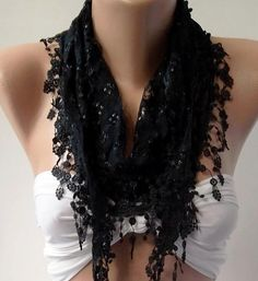 Black  Elegance  Shawl / Scarf with Lacy Edge by womann on Etsy,