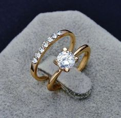 18k Gold Filled Cubic Zirconia Wedding Ring Set for Women #weddingring