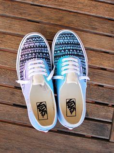 9e109d7c3da Custom Hand Painted Pastel Tribal Vans Authentic shoes - customizable