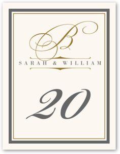 Bickham Monogram 15 Contemporary and Classic Wedding Table Number