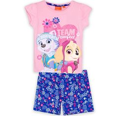 Nickelodeon Paw Patrol Girls Summer Outfit Set Short Sleeve Top Shorts 100% Cotton 2-6 Years - Pink