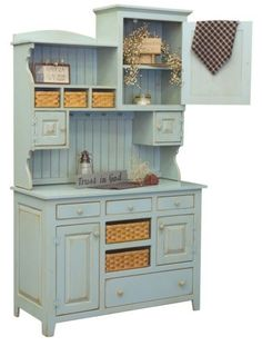 Amish-Country-Kitchen-Hutch-Farm-House-Pantry-Cupboard-Wood-Primitive-Furniture