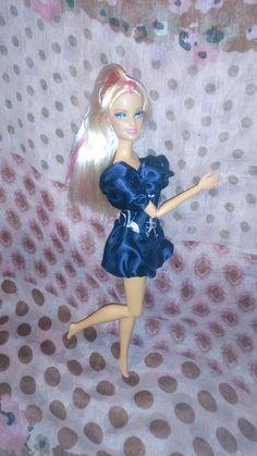 Blue saten pumpkin dress