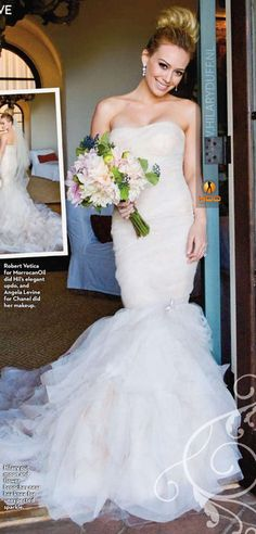 Singer-Actress Hilary Duff married former NHL player Mike Comrie on August 14th, 2010. Hilary wore a lovely mermaid style silk organza gown by Vera Wang.