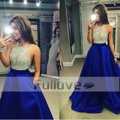 Royal Blue Crystal Prom Dresses Long 2017 Real Photo Beaded Halter Neck Evening Party Dress Vestidos De Fiesta Galajurken Abiye