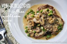 VEAL SCALLOPINI WITH SAFFRON MUSHROOM CREAM SAUCE – super elegant and sooo easy to make! Get the recipe at http://crumbsandtales.com/veal-scallopini-with-saffron-mushroom-sauce/