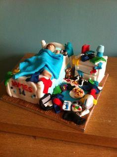 Messy teenagers bedroom cake