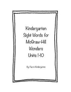 McGraw Hill Wonders Reading take home sheets for practice