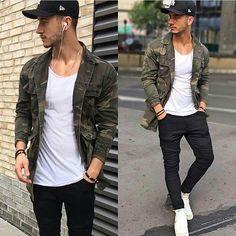 Mens Fashion Casual – The World of Mens Fashion Camo Fashion, Mens Fashion Suits, Mode Man, Style Masculin, Moda Casual, Stylish Men, Camo Jacket, Clothing, Indian