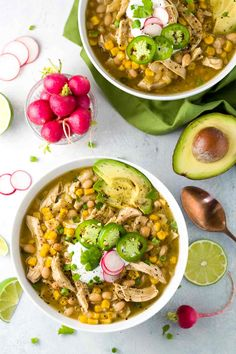 White bean chicken chili simmered in a crockpot with whole roasted jalapenos, te. White bean chicken chili simmered in a crockpot with whole roasted jalapenos, tender beans, corn, and lean chicken breast. A healthy recipe pack with flavor and spice. Dog Recipes, Chili Recipes, Slow Cooker Recipes, Crockpot Recipes, Cooking Recipes, Healthy Recipes, Recipies, White Bean Chicken Chili Crockpot Recipe, Recipe Chicken