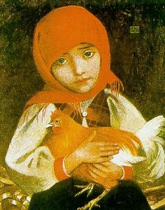 """""""Girl from Slovakia"""" -- by Marianne Stokes (1855 – 1927, Austrian-British)"""