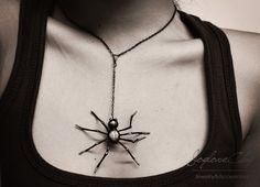 spider necklace , spider handmade by polymer clay