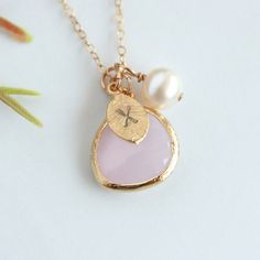 Initial necklace custom glass stone by DelicacyJ, $34.00