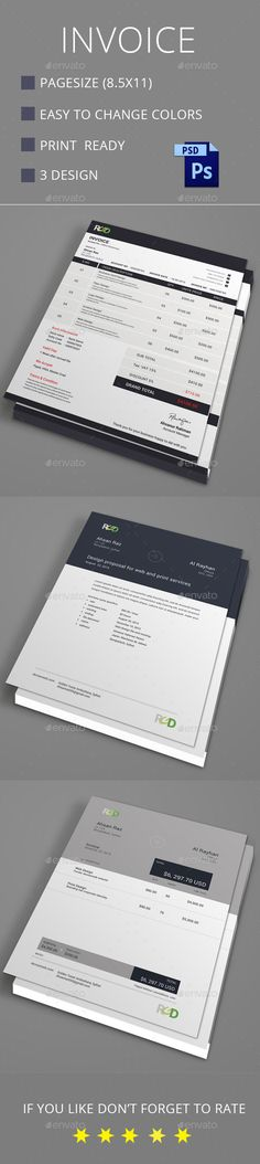 Invoice — Photoshop PSD #business invoice #stationary • Available here → https://graphicriver.net/item/invoice/12430246?ref=pxcr
