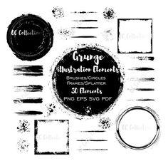 Digital Design Elements Resources Cliparts & Fonts by OCGraphix Grunge, Font Software, Brush Font, Illustration, Cricut Design, Just Love, Design Elements, Oc