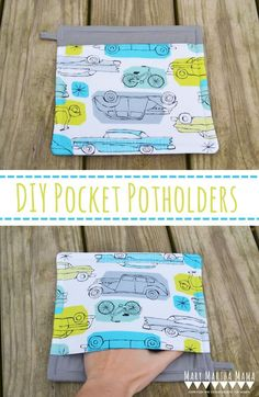Easy Pocket Potholders- Tutorial for how to make your own pocket potholders. Simple step by step tutorial with pictures. Perfect, quick project for beginners