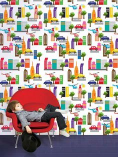 French Bull Cityscape Peel and Stick Wallpaper