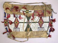 Bag | Plains/Lakota Sioux Tipi Bag Panels Beaded/Tin Cones 18 inch