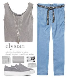 """""""Elysian"""" by xniko ❤ liked on Polyvore featuring John Lewis, Maison Scotch, Yves Saint Laurent, grey, necklace, Tank, fillers and beltedtrousers"""