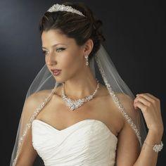 Dazzling Princess Cut Crystal and Rhinestone Wedding Tiara