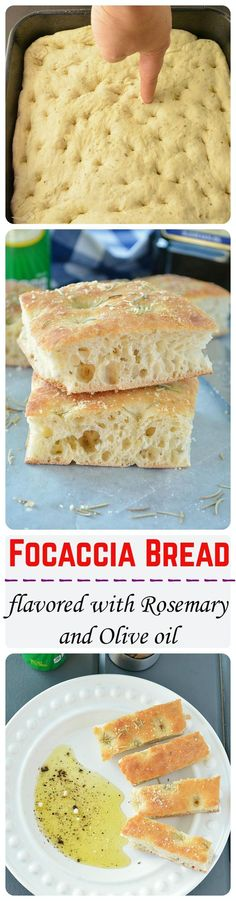 Light, airy and crunchy focaccia bread flavored with Italian herb seasoning and topped with dried rosemary and olive oil. Totally yum!!: