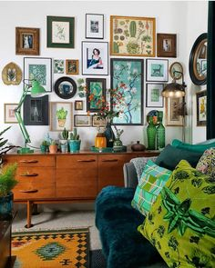 Amanda Cotton of HouseLust. A Colourful, Victorian Home Renovation A Colourful Victorian Terrace Amanda Cotton of HouseLust. A Colourful, Victorian Home Renovation Green Sofa, Yellow Couch, Deco Design, Home And Deco, Eclectic Decor, Eclectic Gallery Wall, Eclectic Taste, Eclectic Frames, Eclectic Design