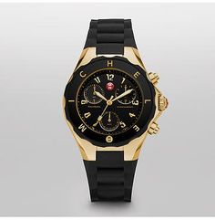 Tahitian Jelly Bean Large Black Gold Tone  Tahitian Jelly Beans by Michele feature a dose of playful luxury in an irresistible range of colors. With a chronograph movement, bolder dial size, and a sporty strap and bezel, these timepieces are as undeniably fun as they are luxurious.