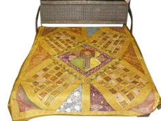 Decorative Yellow Beaded Bedspreads Quilt Coverlet Bedding Throws Tapestry | eBay Tapestry Bedding, Coverlet Bedding, Gold Bedding, Yellow Mirrors, Indian Bedding, Embroidered Bedding, Bed Throws, Bed Spreads, Chanel Boy Bag
