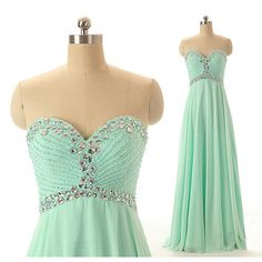 Sexy Mint Green Chiffon Bridesmaid Dresses, Elegant Long Sweetheart Formal Dresses, Wedding Party dresses,2017 Evening Gowns