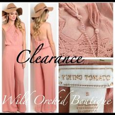 """💥💥FLASH SALE💥💥🎀Dusty Pink Jumpsuit🎀 Gorgeous Summer Jumpsuit. Halter Tie with tassels. Beautiful detailing and has elastic waist. Inseam 32"""". Color dusty pink. Absolutely GORGEOUS on! Available S-M-L Runs TTS.  💥💥Flash Sale Price is Firm. No Offers Please💥 🌿LOWEST PRICE UP FRONT CLOSET   Pants Jumpsuits & Rompers"""
