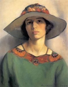 Mabel Alvarez (American, 1891-1985), Self-Portrait, 1923 ~  Mabel Alvarez was an American painter. Her works, often introspective and spiritual in nature, and her style is considered a contributing factor to the Southern California Modernism and California Impressionism movement.