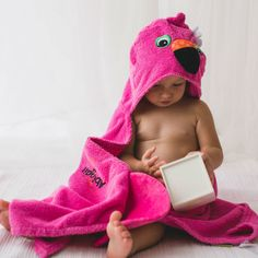 Personalised Florrie the Flamingo Hooded Towel