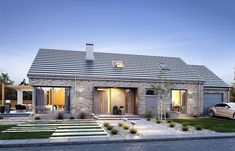Projekt domu Wymarzony 9 118,51 m2 - koszt budowy 209 tys. zł - EXTRADOM Modern Brick House, Modern Bungalow House, Rural House, Flat House Design, Modern House Design, Facade House, House Roof, Compact House, Small Modern Home