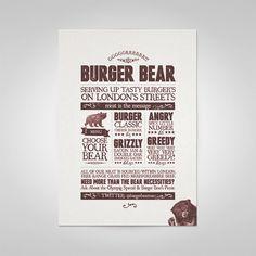 Burger Bear by Ello Mate! , via Behance Burger Menu, London Free, Bacon Jam, Delicious Burgers, Typography, Behance, Tasty, Messages, Fonts